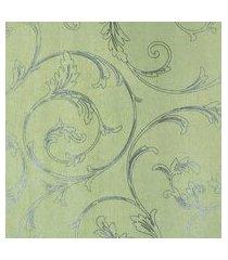 papel de parede lavável fundo amarelo folhas prateada fwb
