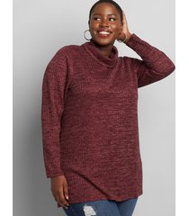 lane bryant women's sparkle turtleneck tunic top 18/20 winetasting