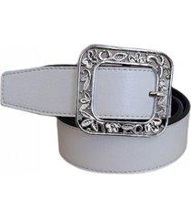 cinturón cuero blanco hebilla hojas mf cueros