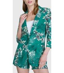 blazer io estampado lino manga 3/4 verde - calce regular