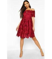 boutique kanten off shoulder skater jurk, berry