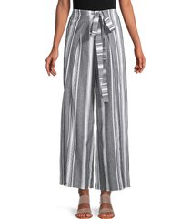 supply & demand women's connie belted stripe wide-leg pants - grey white - size l