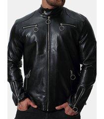 giacca da uomo casual in pelle pu con cerniera multi-cerniera