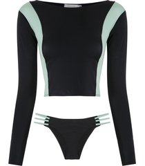 brigitte long sleeved bikini set - multicolour