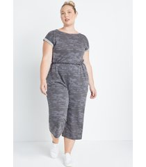 maurices plus size womens 24/7 camo french terry reversible jumpsuit gray
