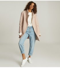 reiss sicily - wool blend mid length coat in pale pink, womens, size 12