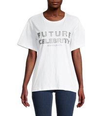 eleven paris women's future celebrity graphic cotton t-shirt - white - size l