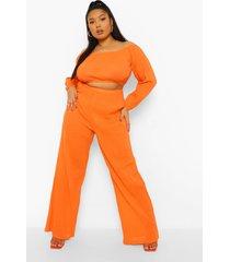 plus crop top met uitgesneden hals en wide leg broek set, red orange