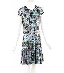 erdem blue floral print flared drop waist dress blue/multicolor/floral print sz: m