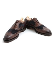 handmade men formal shoes men two tone brown and blue wingtip brogue dress shoes