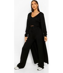 3 piece knitted top cardigan and legging co-ord set, black