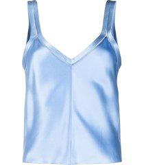 alberta ferretti v-neck silk vest - blue