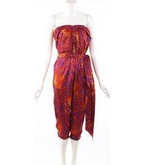 salvatore ferragamo orange purple animal print silk strapless jumpsuit purple/orange/animal print sz: m