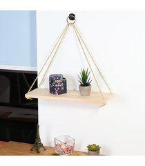 cuerda rústica de madera maciza pared de colgante de la vendimia plataforma de almacenamiento flotante del hogar del estante - grande