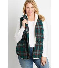 maurices plus size womens green plaid sherpa lined cinch waist vest