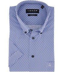 ledub shirt korte mouw blauw geprint modern fit