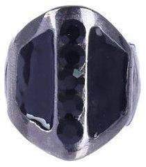 anel armazem rr bijoux com cristais preto grafite - feminino