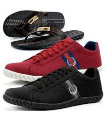 kit 2 pares de sapatênis casual dhl masculino preto e vermelho + chinelo conforto