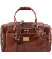 tuscany leather tl141296 tl voyager - borsone viaggio in pelle con tasche laterali marrone