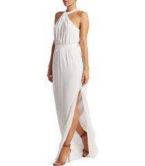 viola metallic stripe halter gown
