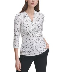 dkny dot-print ruched-side top
