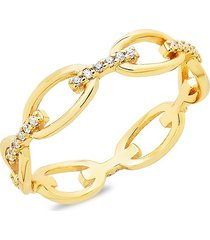 sterling forever women's 14k gold vermeil & crystal open chain-link ring/size 7 - size 7