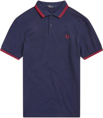 fred perry m3600 twin tipped polo shirt - carbon blue & deep red m3600-h29