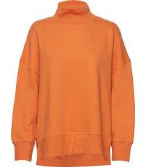 sunday sweat hnck side split sweat-shirt tröja orange french connection