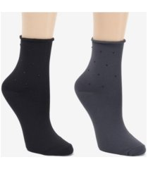 donna karan soft microfiber 2pk demi crew dress sock