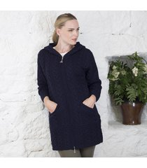 hooded irish aran zipper coat navy small