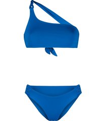 tara matthews braided-detail one-shoulder bikini set - blue