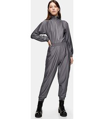 considered charcoal gray recycled polyester jumpsuit - charcoal