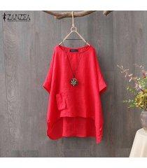 zanzea camiseta de verano para mujer tops asimétrico alto bajo camiseta blusa tallas grandes -rojo
