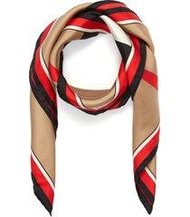 monogram icon stripe print silk twill scarf
