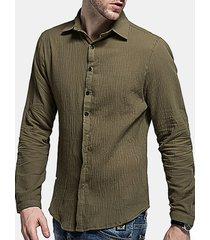 uomo casual camicia in lino sottile slim fit in colore a tinta unita