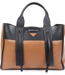 prada large ouverture leather tote bag black/brown/logo sz: l