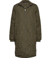 padded quilt coat doorgestikte jas groen ilse jacobsen