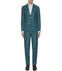 'cortina' notch lapel check wool blend suit