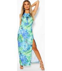 maxi-jurk met halternek en tropische bladprint, blue