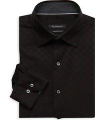 bugatchi men's regular-fit check dress shirt - black - size 18