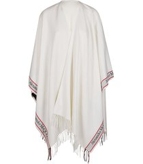 alexander mcqueen off white wool-cashmere blend cape
