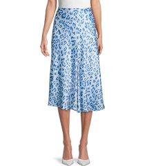 wdny women's leopard-print midi skirt - blue leopard - size s