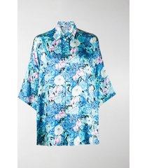 balenciaga floral-print draped shirt