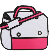 morral grande 2 botones teramachi blanco-fuscia fight for your right