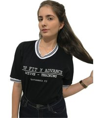 camiseta advance clothing college preta - preto - feminino - algodã£o - dafiti