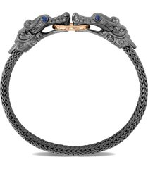 'legends naga' sapphire double dragon head 18k gold black rhodium chain bracelet