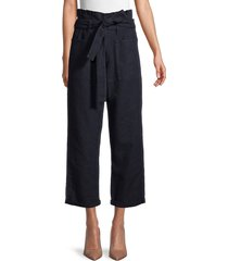 joe's jeans women's the paperbag linen & cotton cropped trousers - dark midnight - size 23 (00)