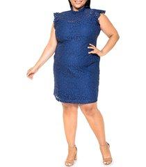 alexia admor women's kendall lace cap-sleeve sheath dress - navy - size 2x (18-20)