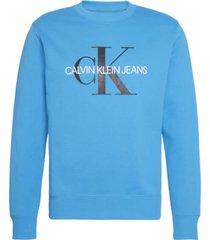 sudadera con logo y monograma azul calvin klein