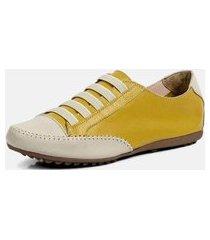 tênis torani sapatênis casual couro amarelo